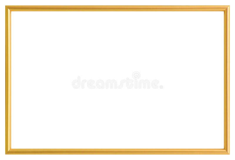 Golden metal photo frame isolated on white royalty free stock photography