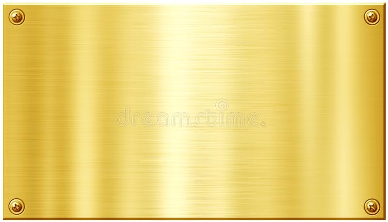 Golden metal plate with nail heads royalty free illustration