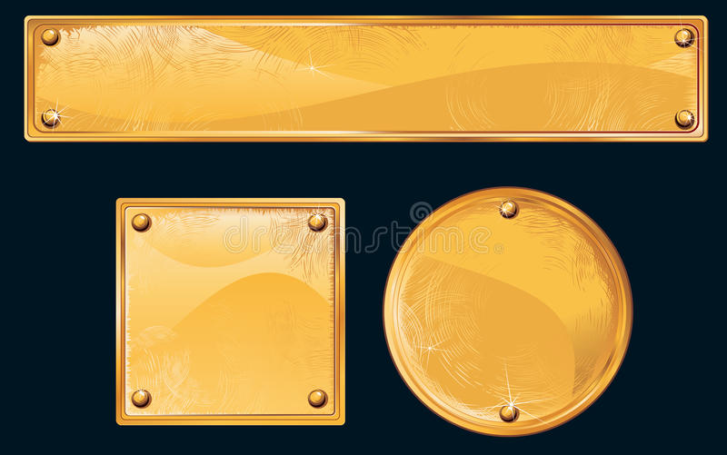 Download Golden metall plate stock vector. Image of plate, copper - 14525004