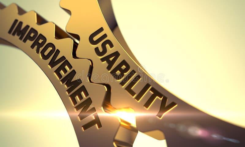 Golden Metallic Gears with Usability Improvement Concept. 3D. Usability Improvement on the Golden Metallic Cogwheels. 3D vector illustration
