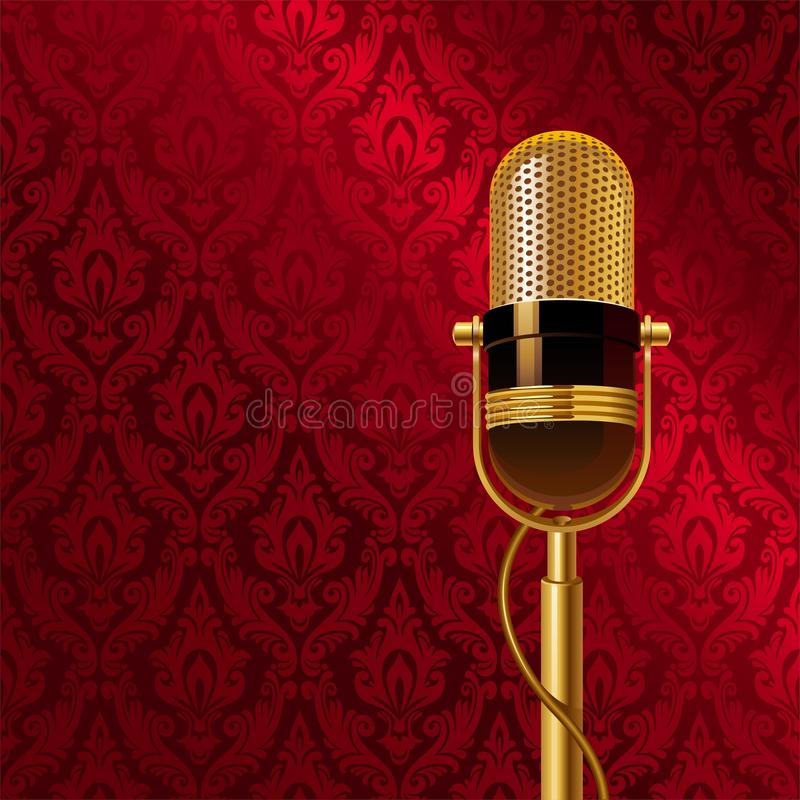 Golden microphone. Against a seamless damask pattern vector illustration