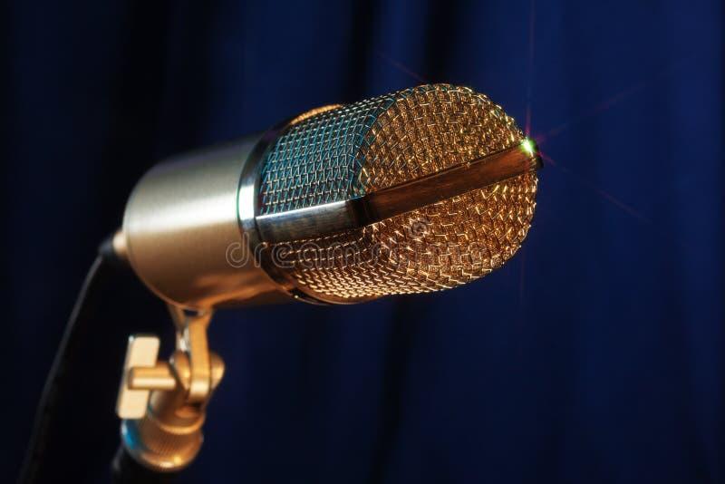 Golden microphone close up royalty free stock photos