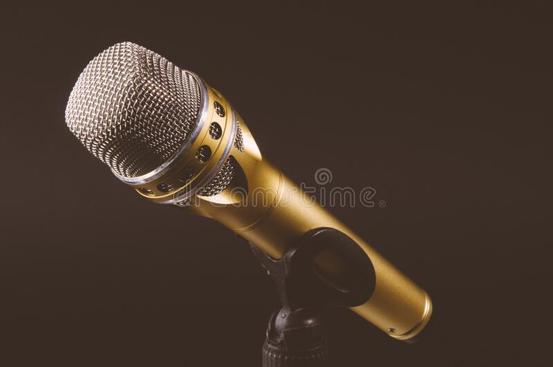 Golden Microphone In Stand Free Public Domain Cc0 Image