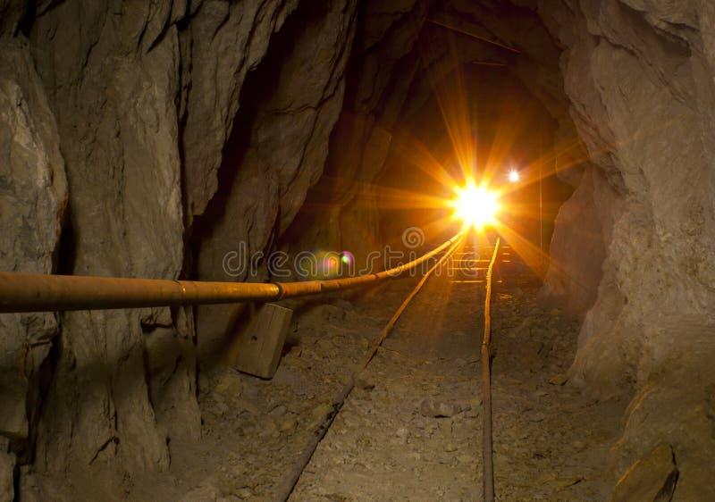 Golden Mine Tunnel Light royalty free stock photo