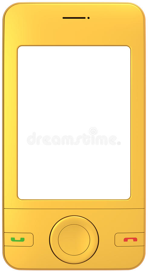 Golden mobile phone cellphone blank screen royalty free illustration