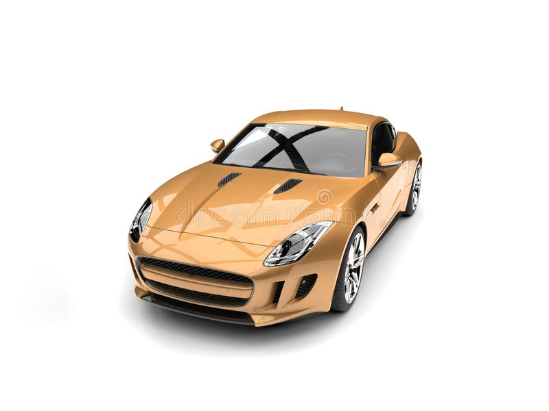 Golden modern sports concept car - top down view. Isolated on white background stock illustration