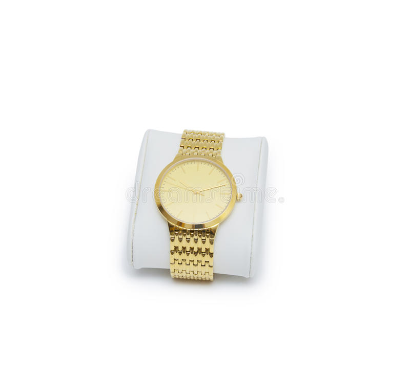 Golden modern wrist watch isolated. On the white royalty free stock photography