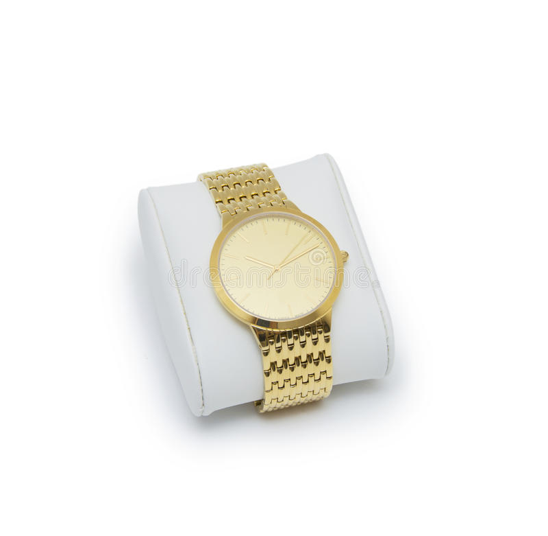 Golden modern wrist watch isolated on white background. Golden modern wrist watch isolated stock photo