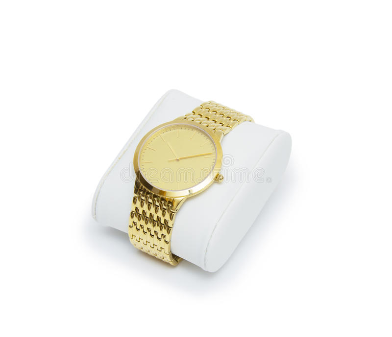 Golden modern wrist watch isolated on white background. Golden modern wrist watch isolated royalty free stock photos