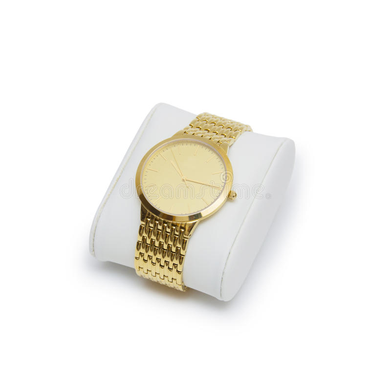 Golden modern wrist watch isolated. On the white background stock photo
