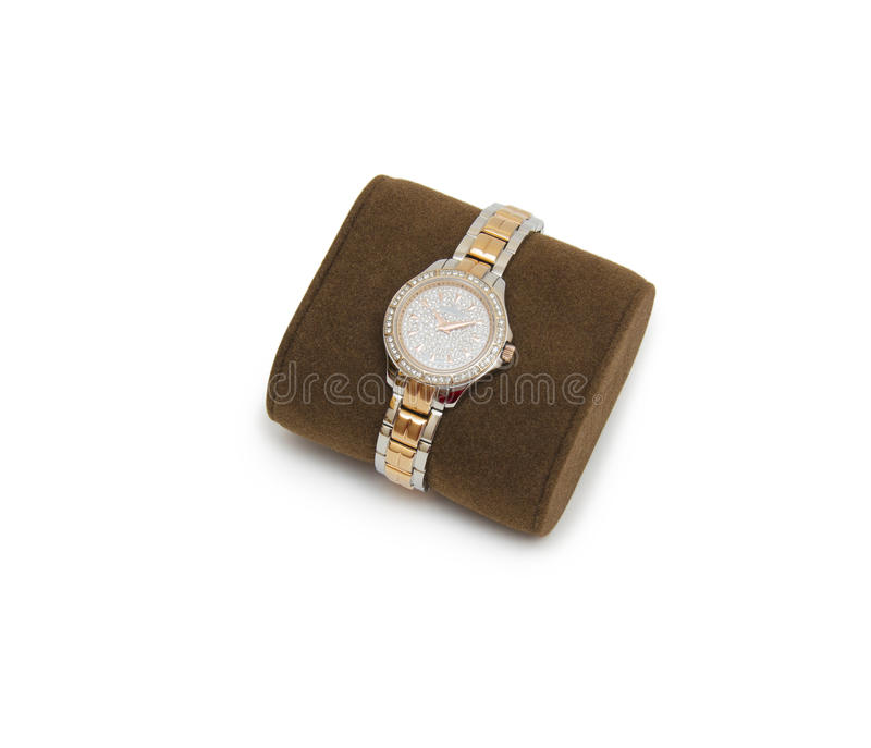 Golden modern wrist watch isolated. On the white background stock photography