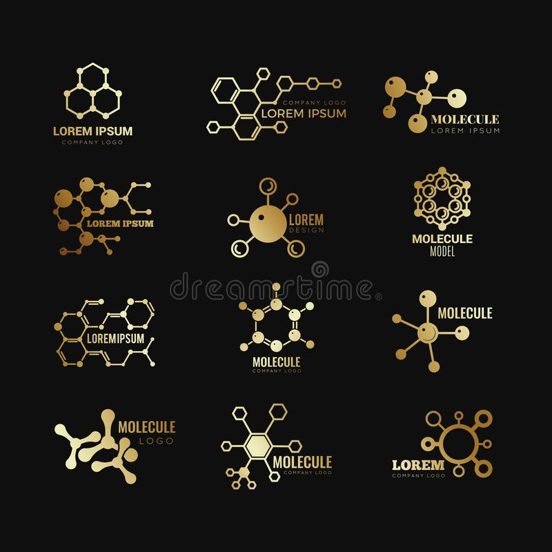 Golden molecular vector logotypes. Evolution concept formula chemistry genetic technology icons set. Golden molecular atom, chemistry research, molecule and stock illustration