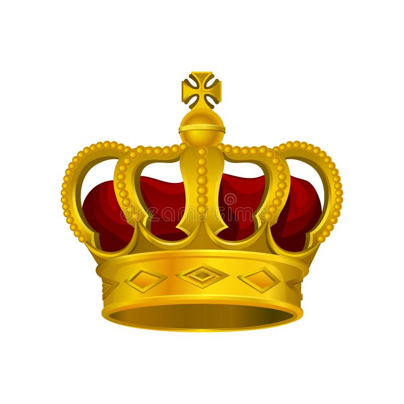 Golden monarch crown with red velvet and cross on top. Precious head accessory of king or queen. Bright vector design stock illustration