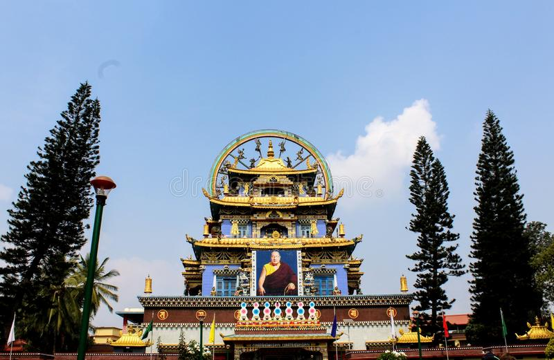 golden monastery In coorg royalty free stock image