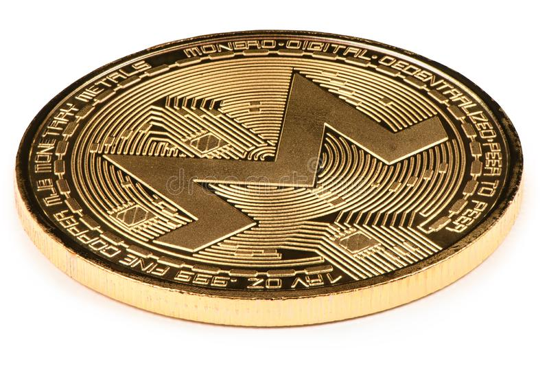 Golden monero isolated on white background. High resolution photo. With clipping path. Full depth of field stock images