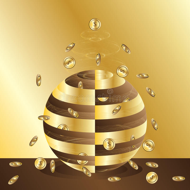 Golden money spread power card royalty free illustration