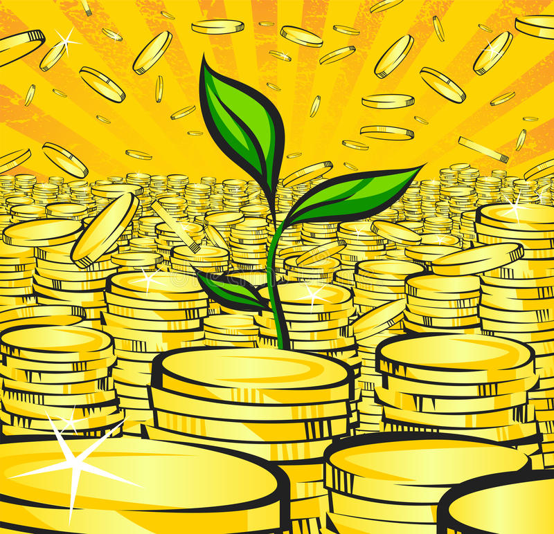 Golden money stacks with green sprout of wealth tree, gold coins, retro illustration of the shining wealth, pop art treasur. E image vector illustration