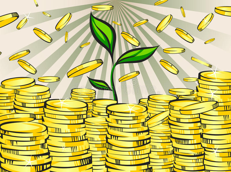 Golden money stacks with green sprout of wealth tree. Gold coins. Retro vector illustration of the shining wealth. stock illustration