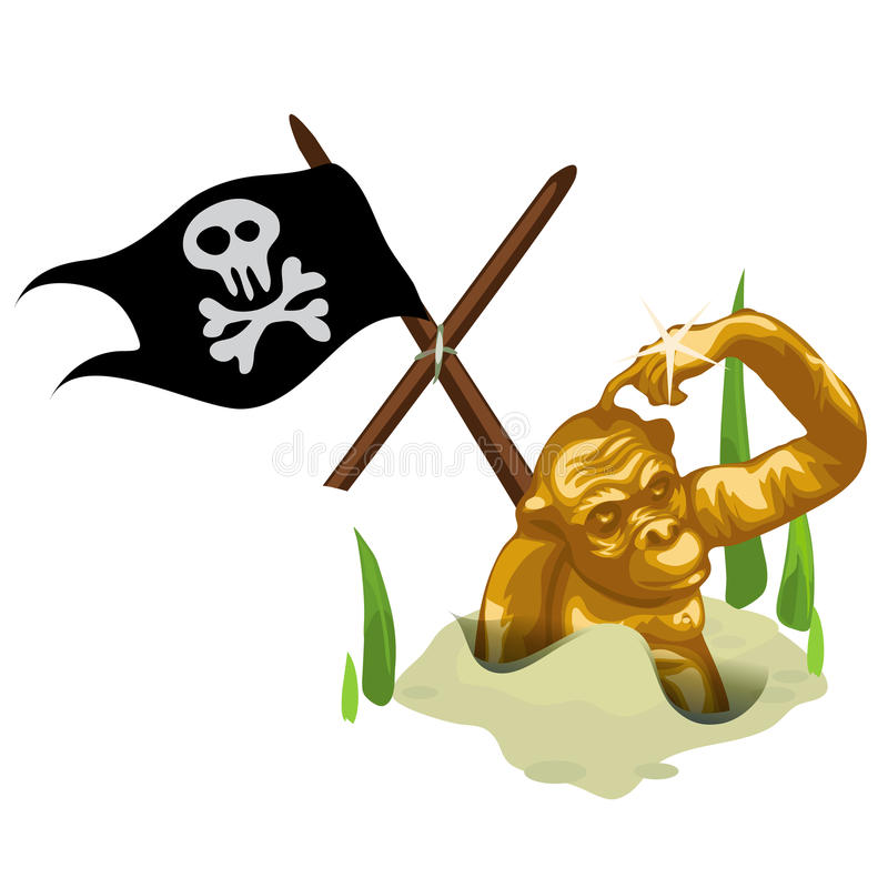 Golden monkey in sand and mast with pirate flag royalty free illustration