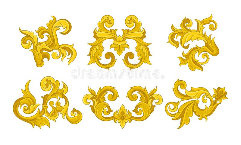 Golden Monogram with Floral Ornament Collection, Ancient Baroque Vignettes Vector Illustration 库存例证