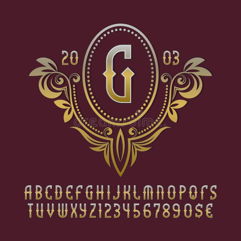 Golden monogram template in splendid floral wreath with vintage stylized alphabet with numbers royalty free illustration