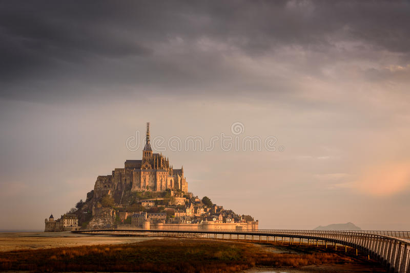 The golden Mont Saint Michel royalty free stock image
