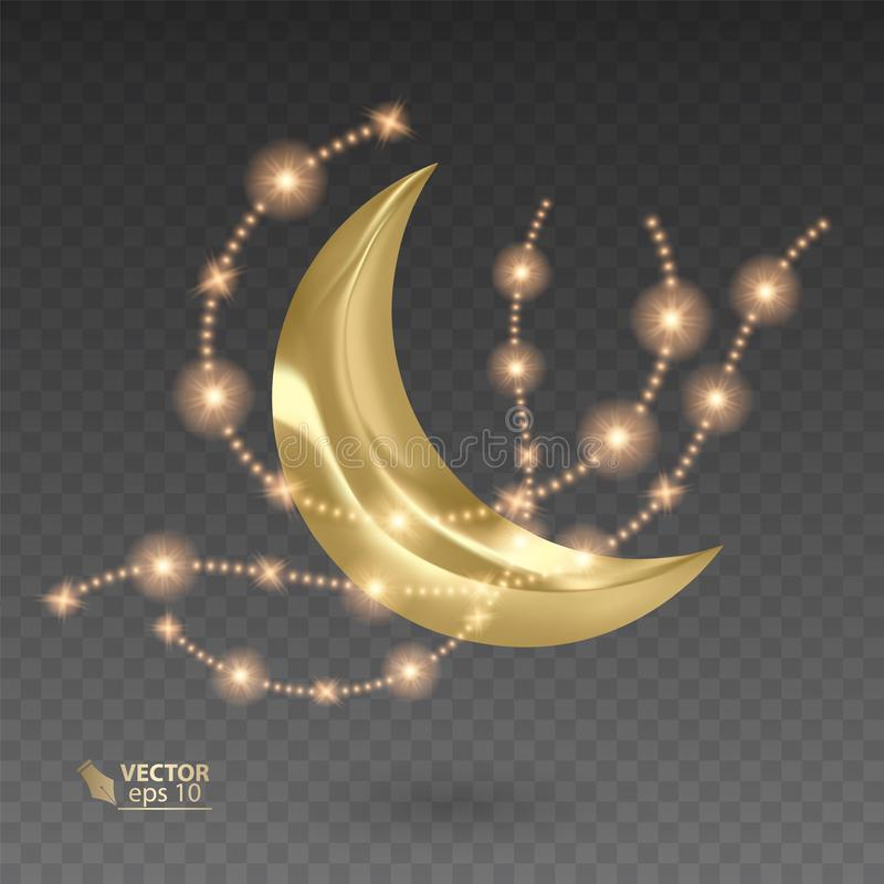 Golden month surrounded by shiny and golden stars, vector illustration on dark background. Golden month surrounded by shiny and golden stars, vector EPS 10 vector illustration