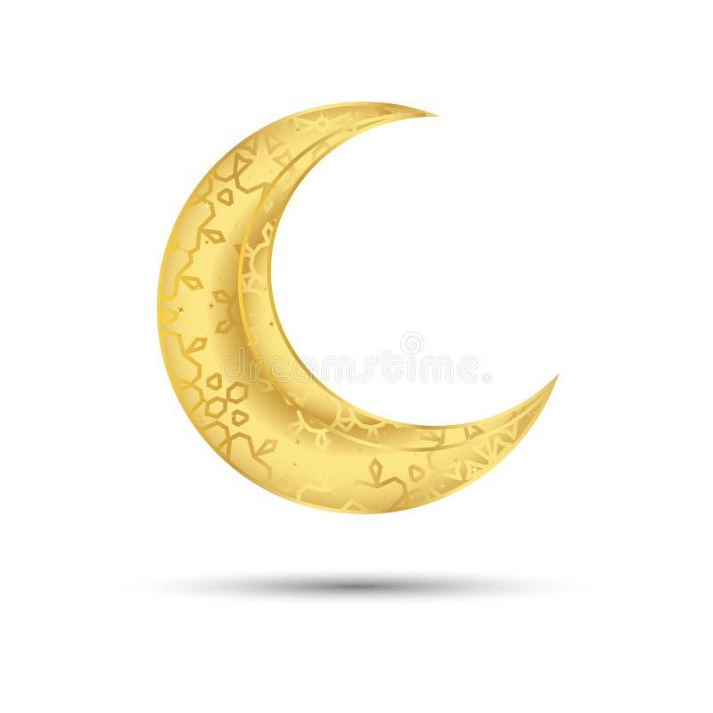 Golden moon för muslimska högtiden under den heliga månaden Ramadan Kareem och andra muslimska helgdagar vektor illustrationer