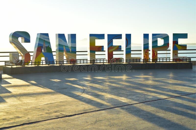 Sunrise light behind three-dimensional letters sign town San Felipe, Baja, Mexico stock photos