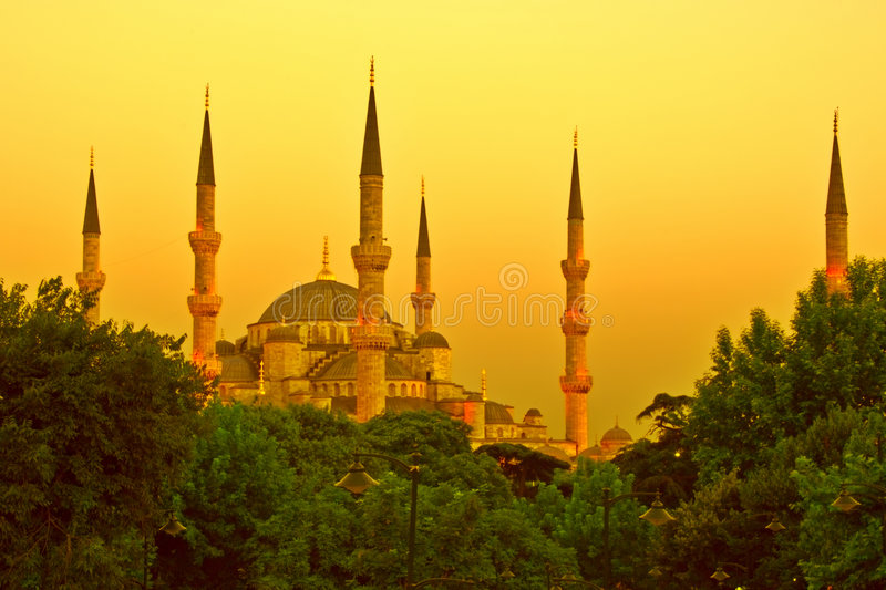 Download Golden Mosque stock image. Image of sunset, blue, sultanahmet - 2943669