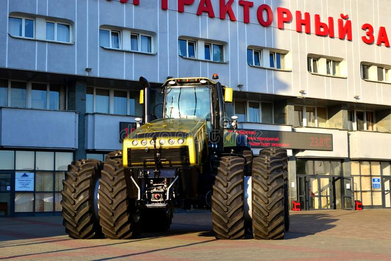Golden the most powerful tractor `Belarus-5022` 500 hp made by Belarusian MTZ. Belarus, Minsk Tractor Works MTZ, 25.05.2019:  Golden the most powerful tractor ` royalty free stock image