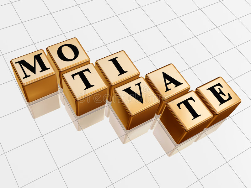 Golden motivate. 3d golden boxes with text - motivate, word stock images