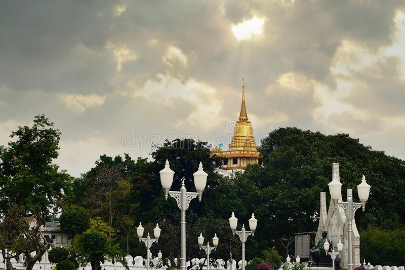 Golden mount temple, bangkok, thailand.  royalty free stock images