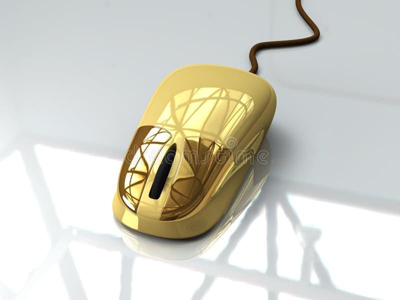Golden Mouse. 3D Illustration. A golden Mouse royalty free illustration