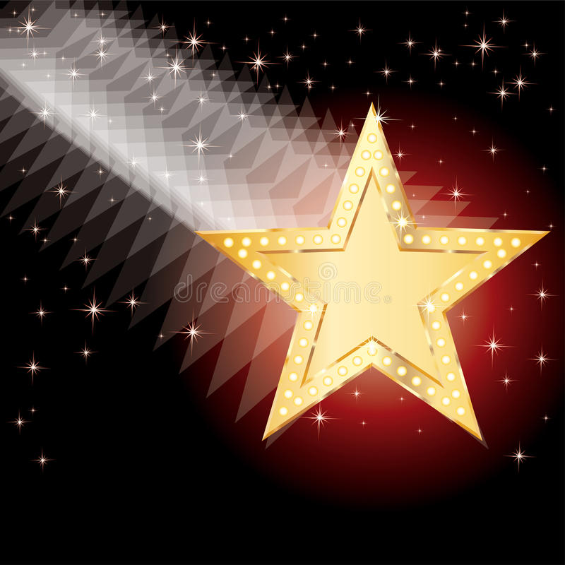 Golden moving star. Abstract bacground with falling golden star royalty free illustration