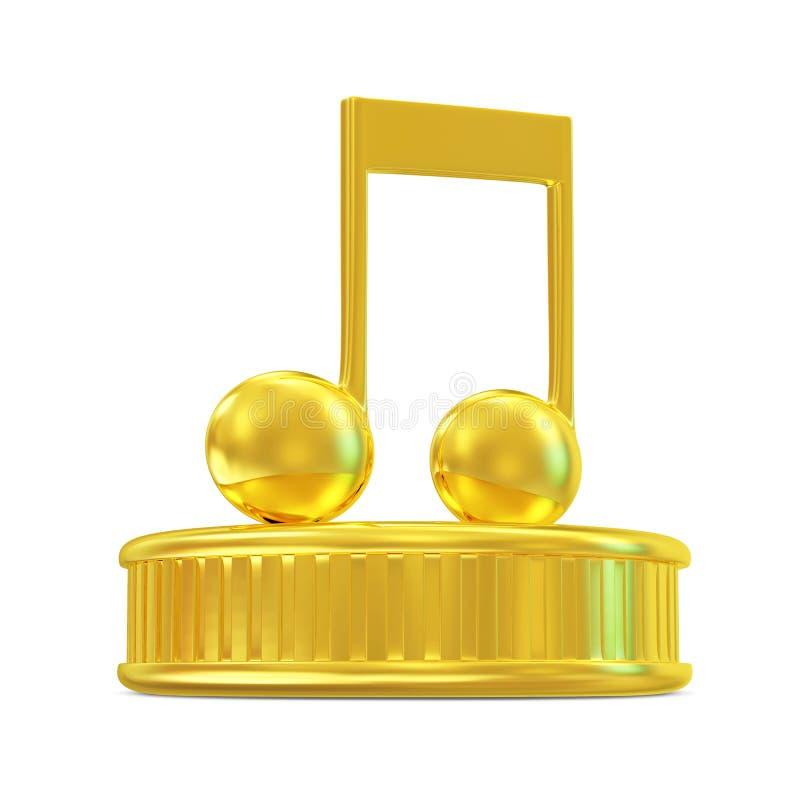 Golden Music Note on a podium stock illustration