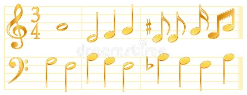 golden music notes 皇族释放例证