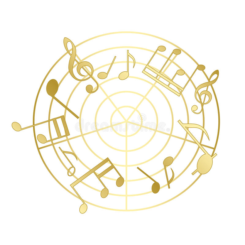 Golden music notes with gradient - vector royalty free illustration