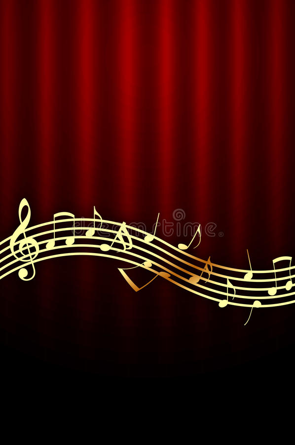 Golden Music Notes on Red Background stock illustration