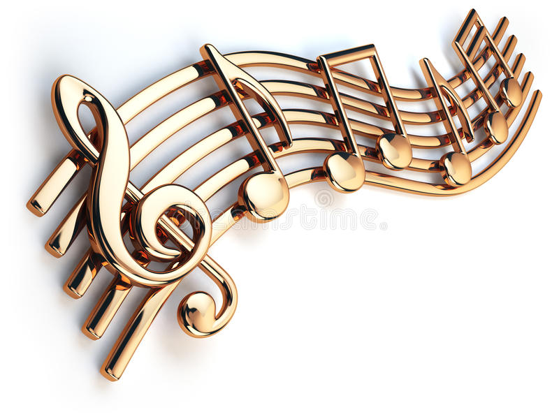 Golden music notes and treble clef on musical strings o vector illustration