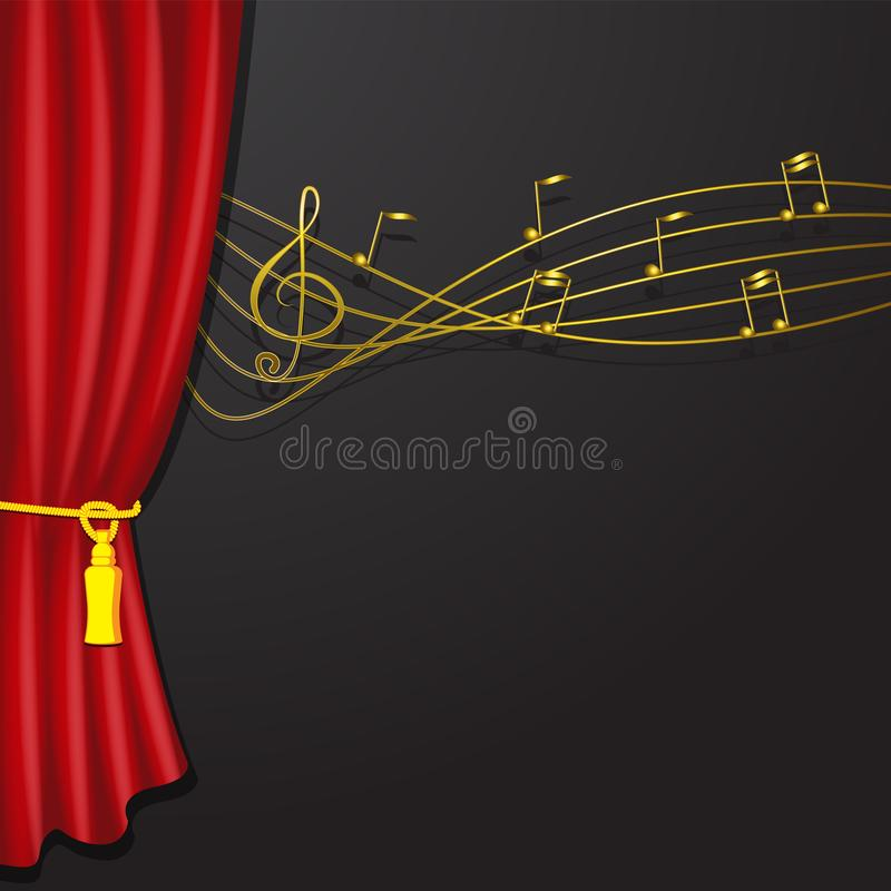 Golden musical notes flying red curtain isolated on black background. Gold vector symbols for melody recording, prints and back stock illustration