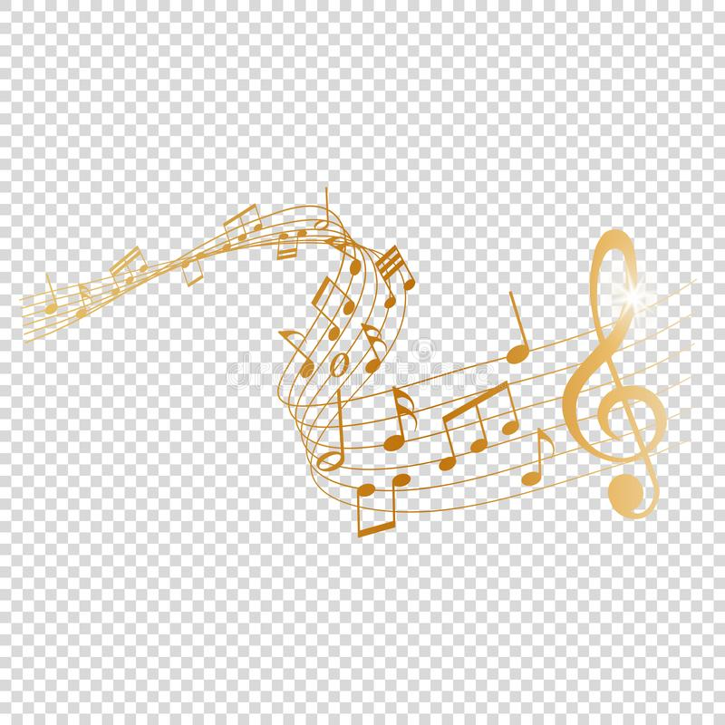 Free Golden Musical Notes Melody On Transparent Background Stock Photography - 167776472