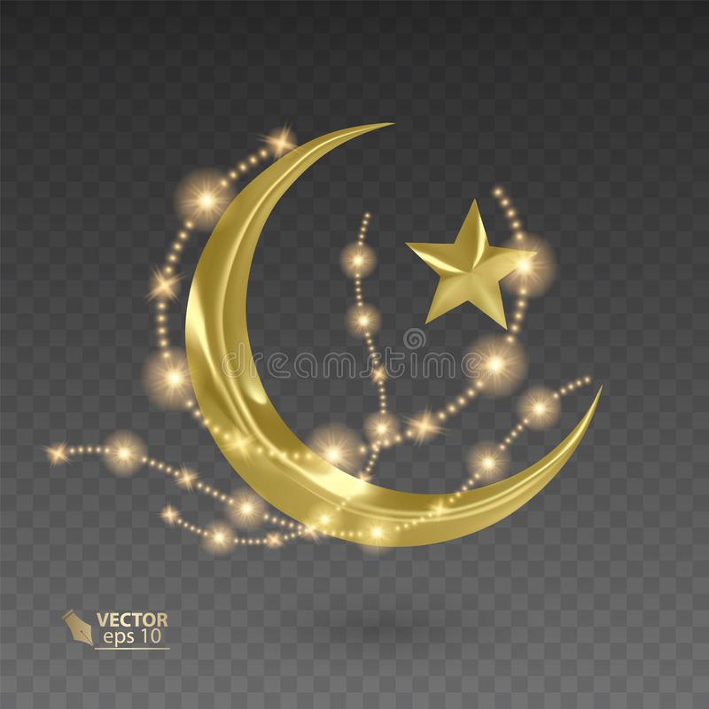 Golden, muslim month surrounded by shiny and golden stars, vector illustration on dark background. Golden, muslim month surrounded by shiny and golden stars vector illustration