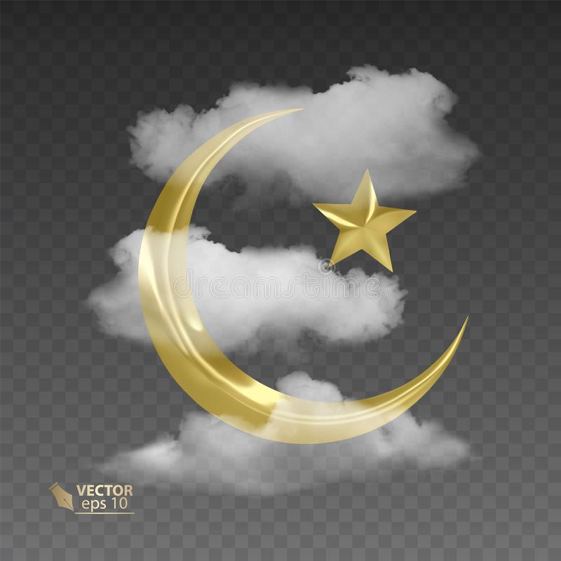 Golden, muslim month surrounded by transparent and realistic clouds, vector illustration on dark background. Golden, muslim month surrounded by transparent and vector illustration