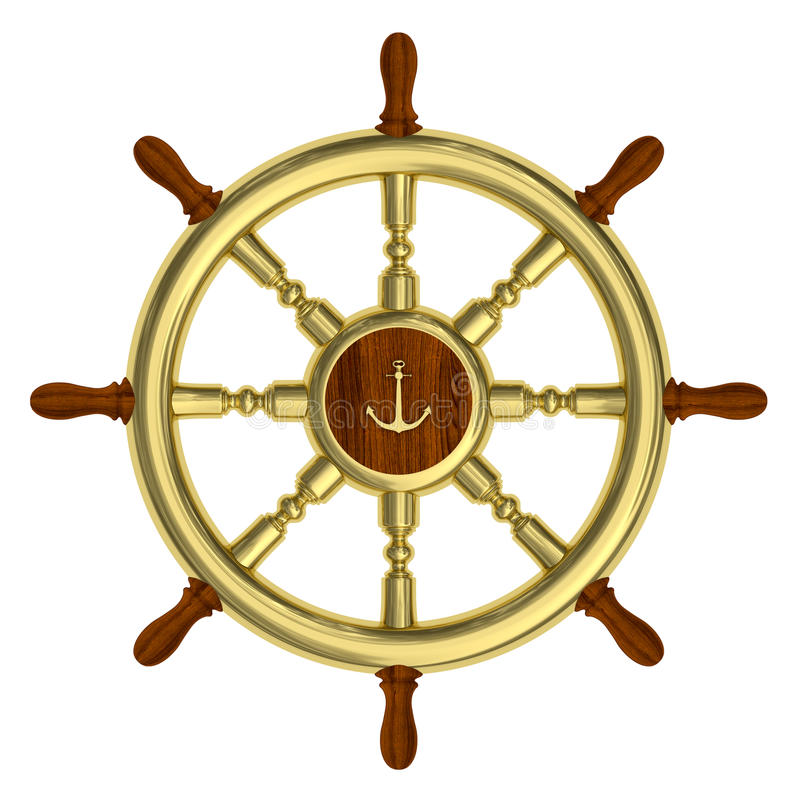 Download Golden Nautical Wheel Isolated Stock Illustration - Image: 17463050