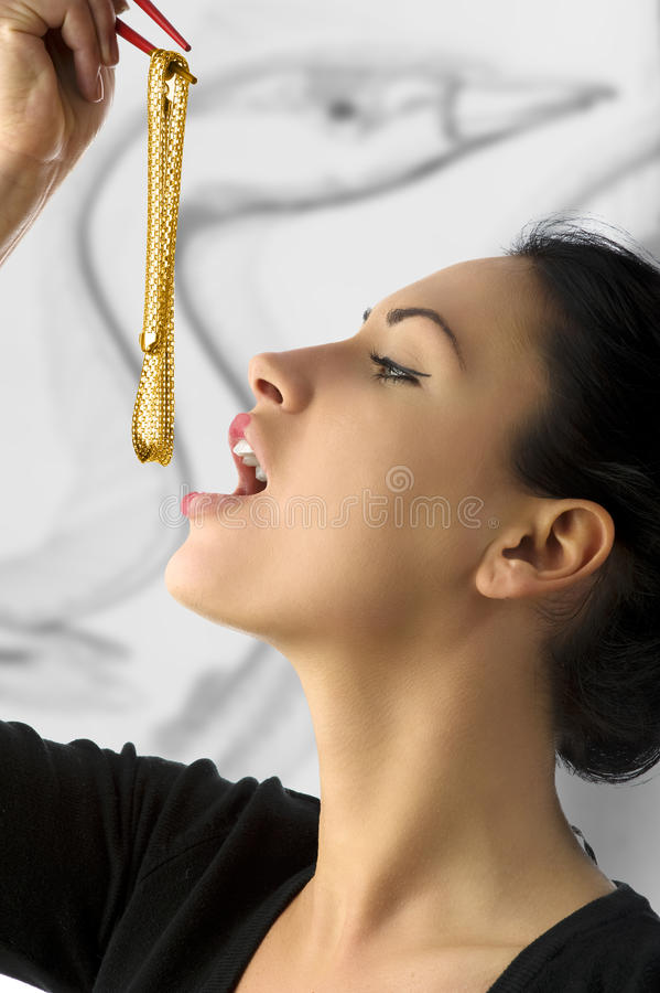 Download The golden necklace stock image. Image of chinese, girl - 10429149
