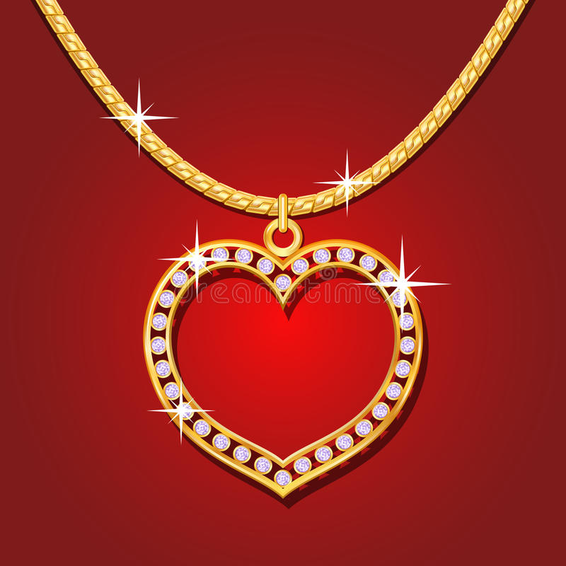 Golden necklace with brilliants vector illustration
