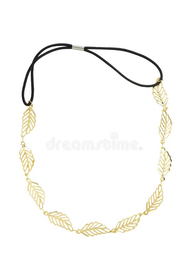 Golden necklace made of small gold leaves and a black elastic band, fashion item isolated on white background, clipping path stock photography