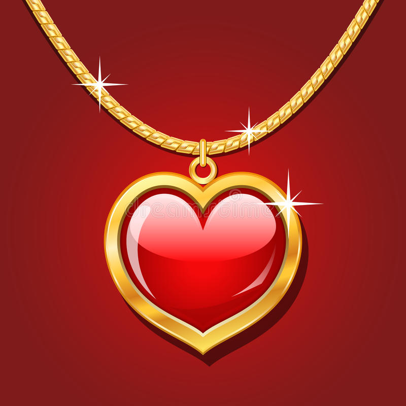 Golden necklace with ruby heart. Golden necklace with glossy ruby heart stock illustration