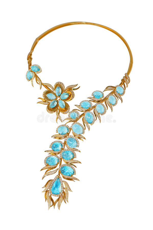 Golden necklace with topazes and diamonds stock photos